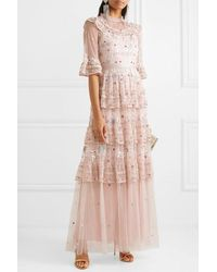 Needle & Thread Eden Tiered Embellished Tulle Gown - Pink