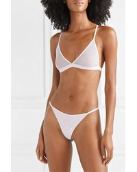 Skin Odelyn Cotton-tulle Soft-cup Triangle Bra - Purple
