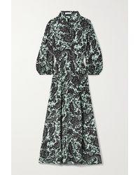 Bella Freud Emmanuelle Belted Floral-print Crepe Maxi Dress - Green