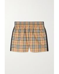 Burberry Striped Checked Cotton-blend Shorts - Multicolour