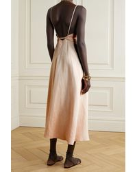 Bondi Born Marseille Belted Linen Midi Dress - Natural