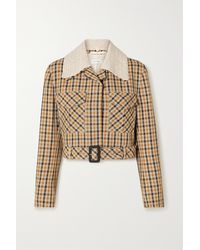 Wales Bonner Kalimba Cropped Crochet-trimmed Checked Wool-blend Jacket - Multicolour