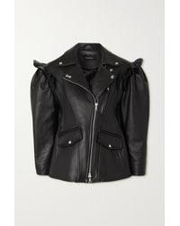 Simone Rocha Ruffled Leather Biker Jacket - Black