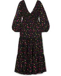 RIXO London Lottie Shirred Floral-print Cotton And Silk-blend Midi Dress - Black