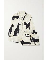 Olivia Von Halle Alba Bedruckter Pyjama Aus Seidensatin Mit Paspeln - Weiß