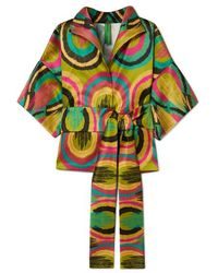 Rianna + Nina - Claudia Belted Printed Cotton And Silk-blend Top - Lyst