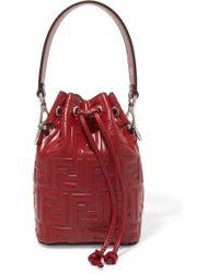 Fendi Mon Trésor Small Embossed Leather Bucket Bag - Multicolour