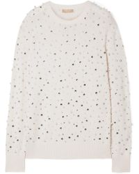 Michael Kors - Faux Pearl And Crystal-embellished Cashmere Sweater - Lyst