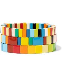 Roxanne Assoulin Rainbow Brite Set Of Three Enamel Bracelets - Blue