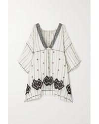 Eres Brigitta Embroidered Striped Linen And Cotton-blend Kaftan - White