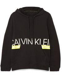 Calvin Klein Metallic Printed Stretch Cotton-jersey Hoodie - Black