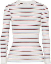FRAME - Striped Ribbed Stretch-jersey Top - Lyst