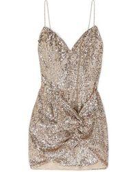 Magda Butrym Deva Twisted Embellished Sequined Satin Mini Dress - Natural