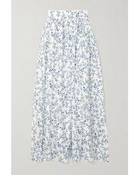 Agua by Agua Bendita Printed Cotton Maxi Skirt - Blue