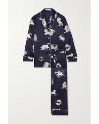 Olivia Von Halle Lila Printed Silk-satin Pyjama Set - Blue