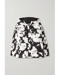 Nina Ricci Hooded Padded Floral-print Shell Jacket - Black