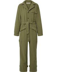 Nili Lotan - Aria Cotton And Linen-blend Twill Jumpsuit - Lyst