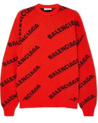 Balenciaga Oversized-pullover Aus Einer Wollmischung Mit Intarsienmotiv - Orange