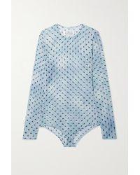 Maison Margiela Printed Stretch-silk Chiffon Bodysuit - Blue