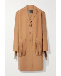 R13 Fringed Wool-blend Felt Coat - Multicolour
