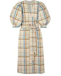 Ganni Checked Cotton-poplin Wrap Dress - Blue