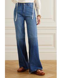 Victoria Beckham Patchwork High-rise Flared Jeans - Blue