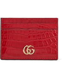 4a51f93669f Lyst - Gucci Marmont Petite Textured-leather Wallet in Black