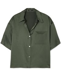 Theory - Cropped Washed-silk Shirt - Lyst