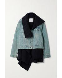 Sacai Layered Denim And Ribbed Wool Jacket - Blue