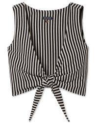 MDS Stripes Clair Cropped Tie-front Striped Cotton-jersey Top - Black