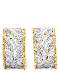 Buccellati Boucles D'oreilles En Or Blanc Et Jaune 18 Carats Et Diamants Ramage - Métallisé