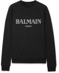 Balmain - Printed Cotton-jersey Sweatshirt - Lyst