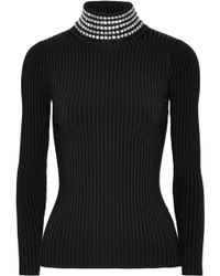 Alexander Wang - Crystal-embellished Ribbed Stretch-knit Turtleneck Sweater - Lyst