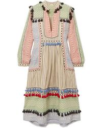 Dodo Bar Or Tasselled Striped Cotton-gauze Midi Dress - White