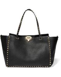 Valentino Valentino Garavani Rockstud Medium Textured-leather Tote - Black