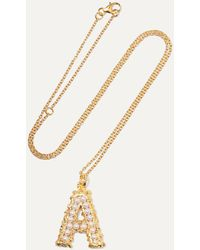 Pacharee Alphabet Gold-plated Pearl Necklace - Metallic