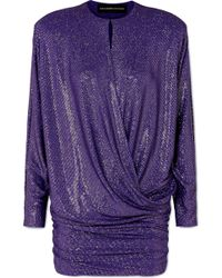 Alexandre Vauthier - Draped Crystal-embellished Stretch-georgette Mini Dress - Lyst