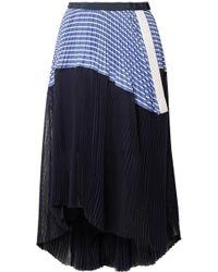 Sacai - Piqué And Organza-trimmed Striped Cotton-poplin Skirt - Lyst
