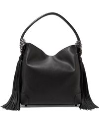 89a7a7aec5 Christian Louboutin - Eloise Spiked Tasseled Textured-leather Shoulder Bag  - Lyst