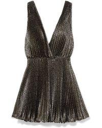Saint Laurent - Plissé-lamé Mini Dress - Lyst