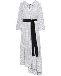 Hellessy - Harley Asymmetric Ruffled Textured-cotton Dress - Lyst