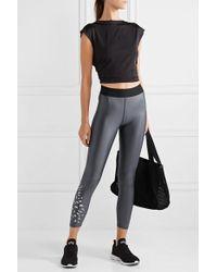 Heroine Sport Luminous Printed Metallic Stretch Leggings - Gray