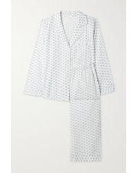 Eberjey Nautico Pyjama Aus Baumwoll-voile Mit Blumenprint - Weiß