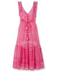Anjuna Ruffled Open-back Printed Cotton-voile Midi Dress - Pink