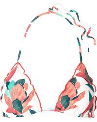 ViX - Bluebell Ruffled Printed Triangle Bikini Top - Lyst