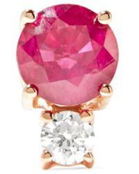 Jemma Wynne - 18-karat Rose Gold, Ruby And Diamond Earring - Lyst