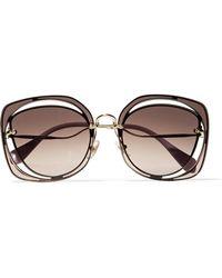 Miu Miu | Scenique Square-frame Cutout Acetate And Gold-tone Sunglasses | Lyst