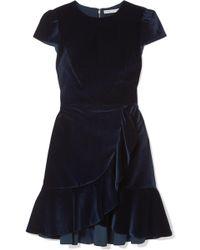 Alice + Olivia - Enid Ruffled Velvet Mini Dress - Lyst
