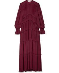 Tory Burch - Stella Ruffled Pleated Chiffon Maxi Dress - Lyst
