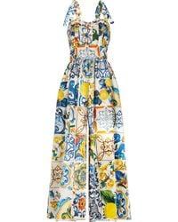 e88748cf77 Dolce   Gabbana - Pleated Printed Cotton-poplin Jumpsuit - Lyst
